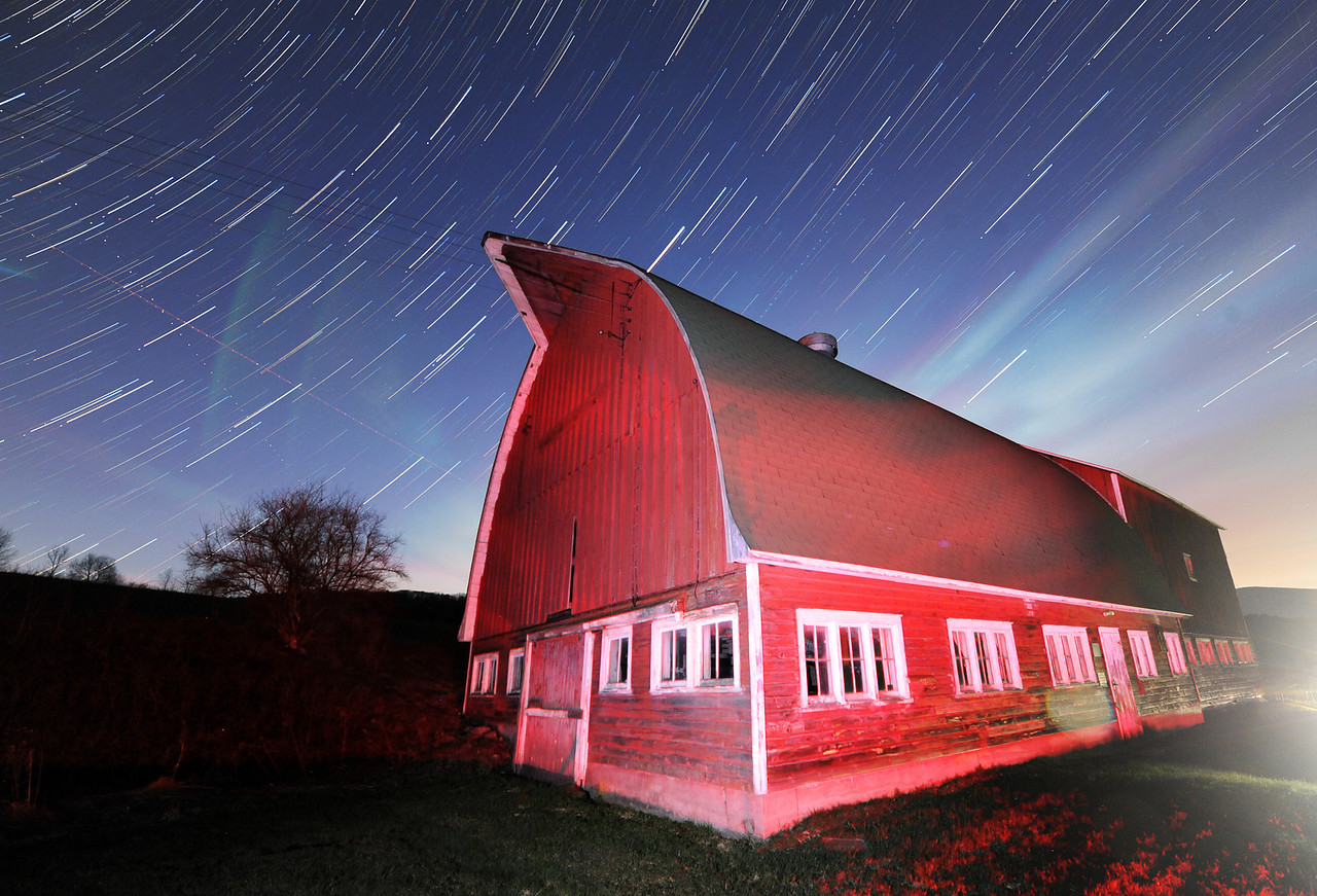 Stars and moonrise over the Red Barn, Margaretville NY