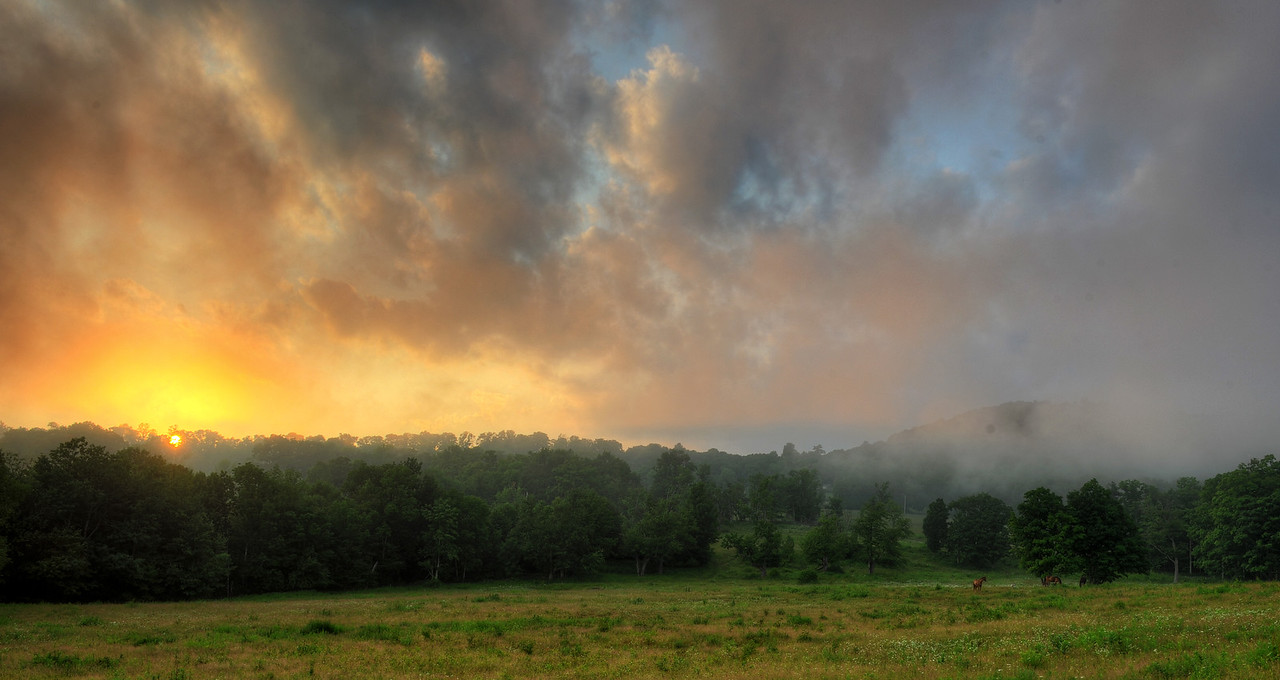 Sunset and fog on Margaretville Mountain