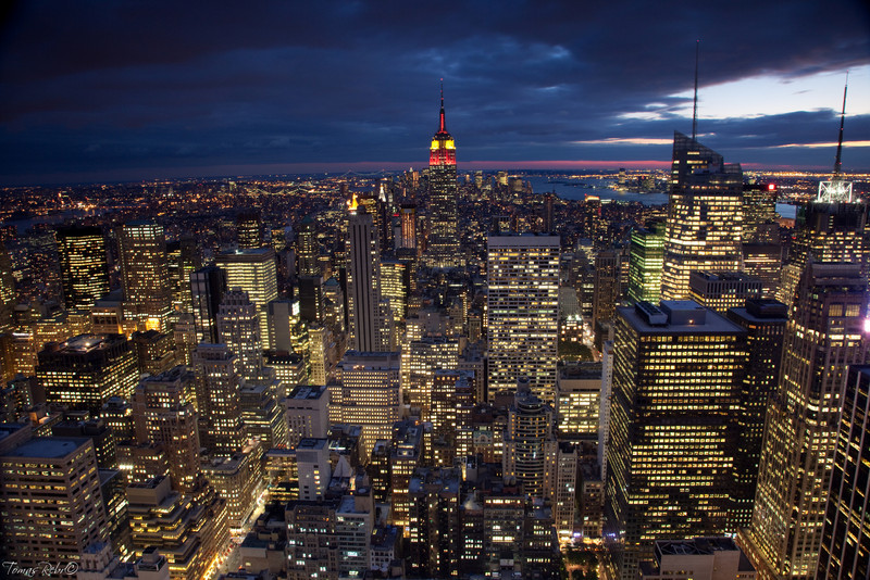 Sunset view on Manhattan from Rockefeller center, New York, USA