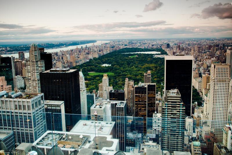 Central park from Rockefeller center, New York, USA
