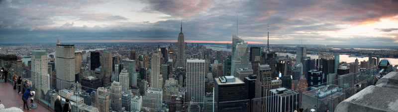 Sunset view on Manhattan from Rockefeller center, New York, USA