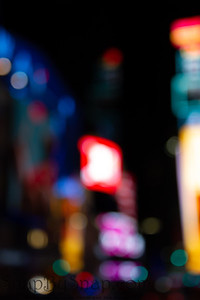 Abstract Bokeh city lights at night from Times Square