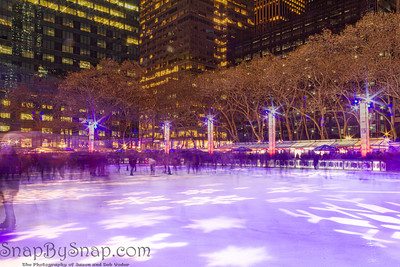 Long Exposure of ice skaters on the rink at the Bryant Park Holiday Village