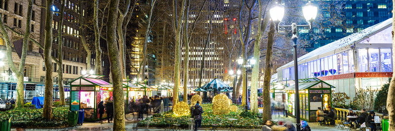 Panorama of the Bryant Park Holiday Village in New York City