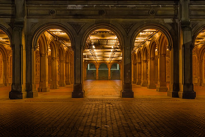 Arches leading into the Bethesda Arcade in New York City's Central park