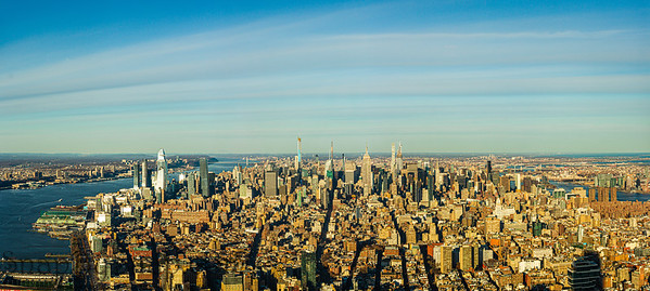 Elevated panorama view of the skyline of Manhattan in New York City