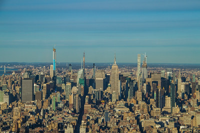 Elevated view of the skyline of Manhattan in New York City
