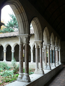 Another of the cloisters, with slender columns made from assorted stone