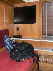 Bottom end of the bed, with all the luggage I took for two months in the Caucasus and the Middle East