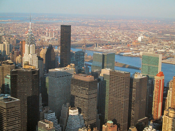 View from the Empire State Building, including the Crysler Building.