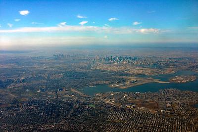 New York City looking West from Queens - LGA Below