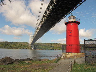 The George Washington Bridge and Old Lighthouse looking West to New Jersey