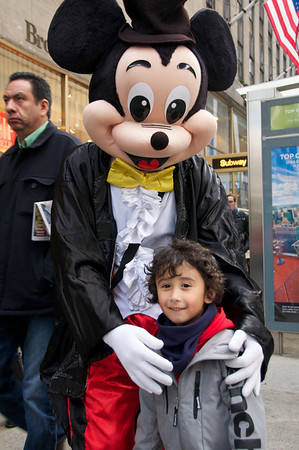Jaden and a Micky Mouse street performer