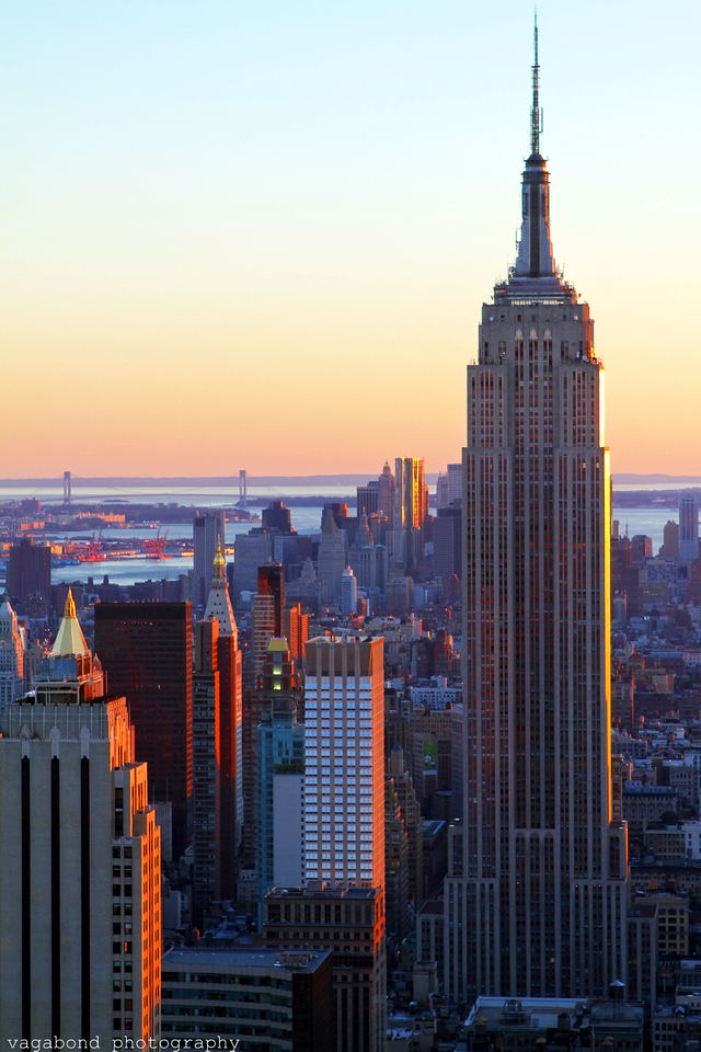 Empire State Building at sunset.