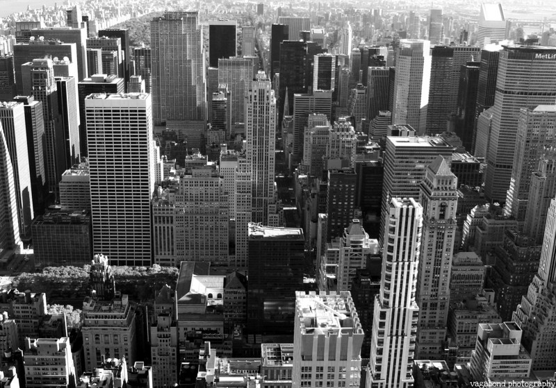 Midtown, with Rockefeller Centre and Central Park near the top of the picture.