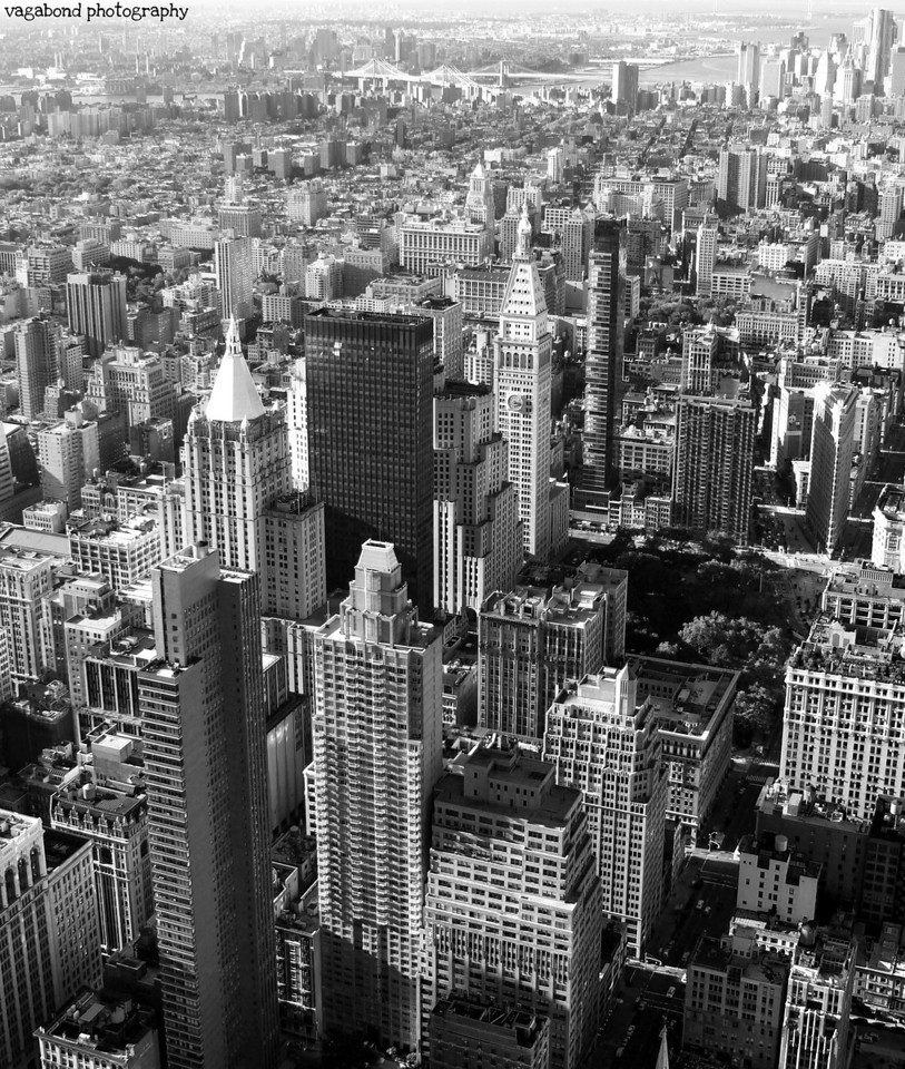 Midtown looking towards the Manhattan and Brooklyn Bridges at the top (or Lower Manhattan).