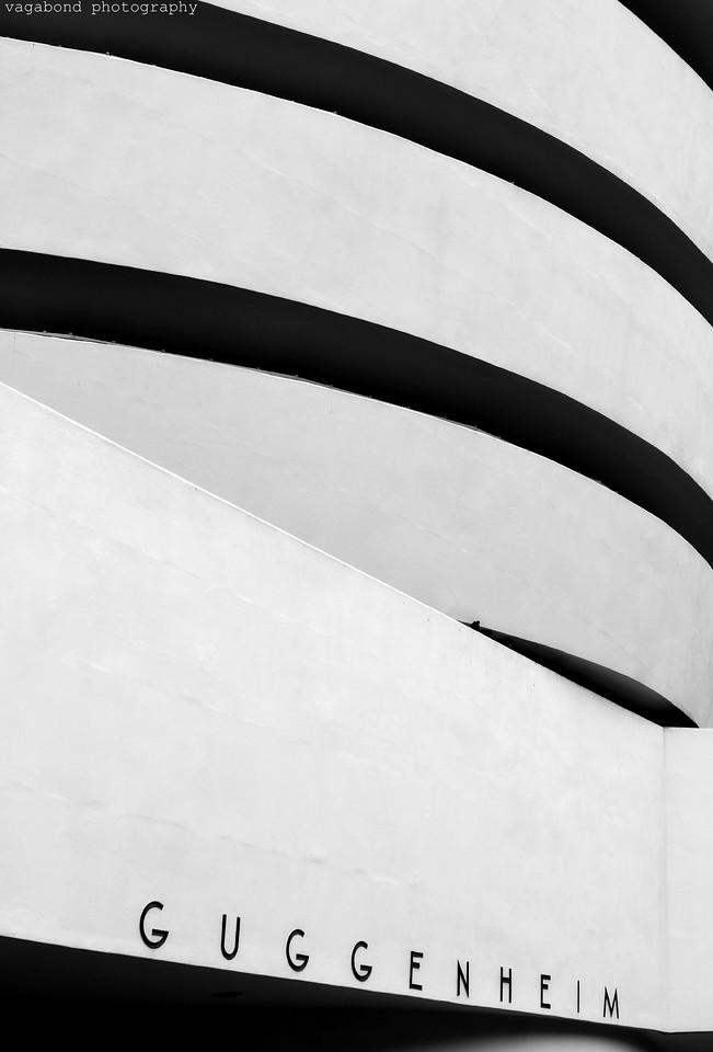 Close crop shot of The Guggenheim Museum on 5th Ave in the Upper East Side.