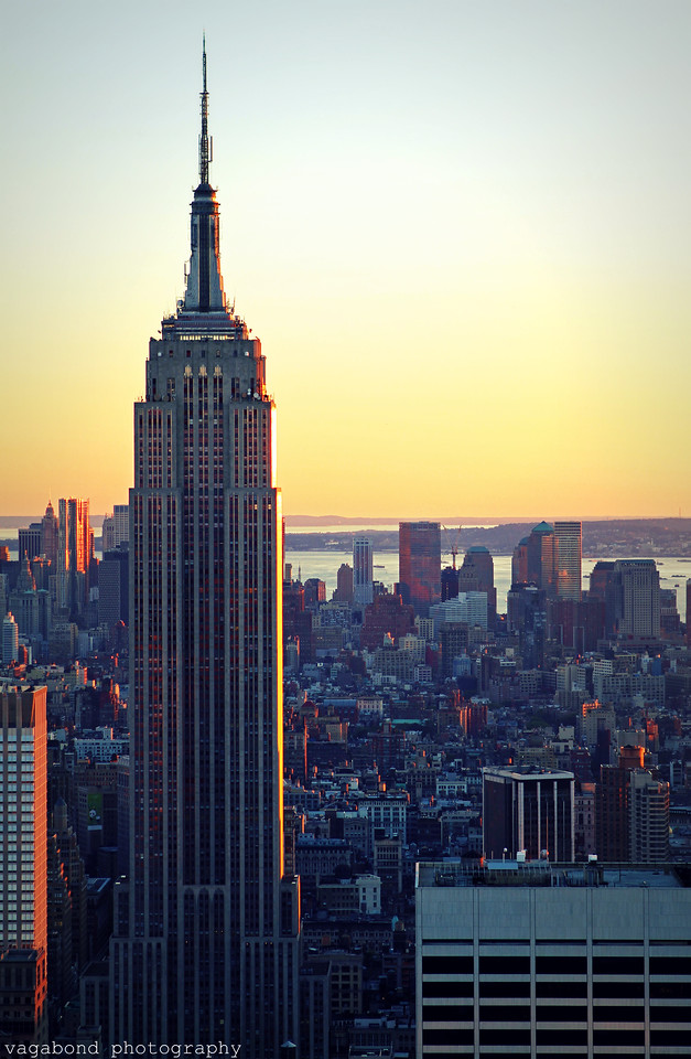 The Empire State Building at sunset.