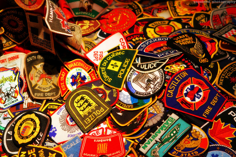 A collection of police badges from around the world on display inside the chapel. These were sent in support of their fallen comrades on 9/11.