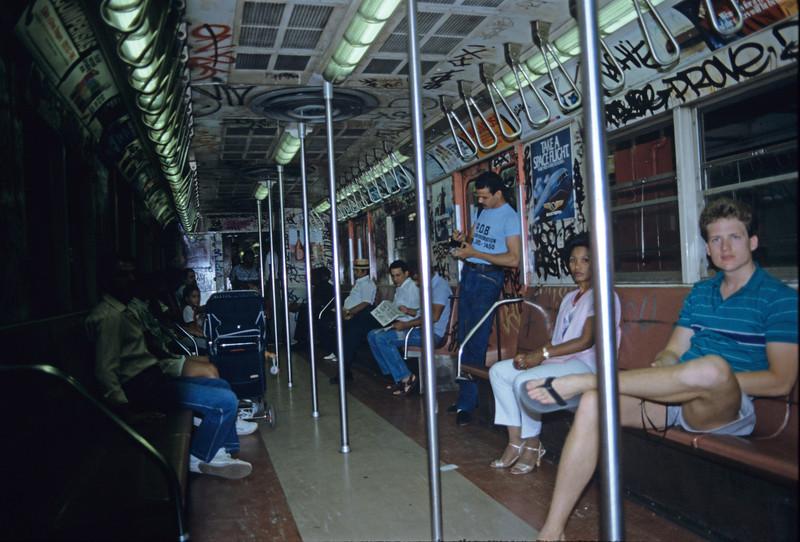 Bryan Calkins in New York subway - August 1985
