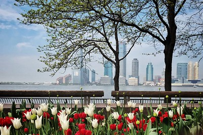Wagner Park, Hudson River and Jersey City Skyline