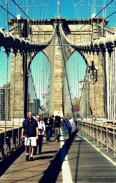 Sunny Saturday walk across the Brooklyn Bridge.