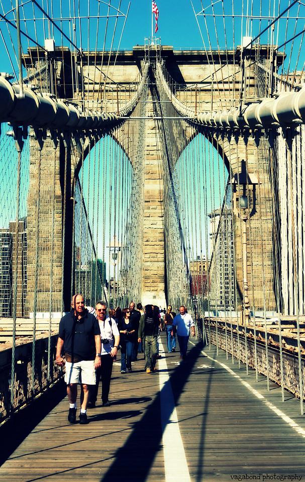 Sunny Saturday walk across the Brooklyn Bridge.