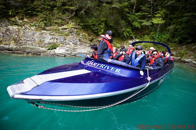 Dart River Jet Boat in a Glacier Water Cove along the Jet River