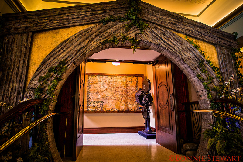 Inside the Roxy where film memorabilia is displayed including Hobbit and Lord of the Rings series