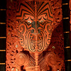 Close-up of wood carvings on the Maori Meeting House