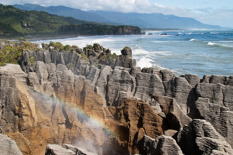 A blowhole at Pancake Rocks, an iconic tourist stop along the South Island west coast.