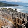 A blowhole at Pancake Rocks, an iconic tourist stop along the South Island west coast.
