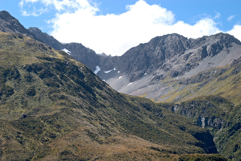 Mountains and mini-glaciers near Arthur's Pass.