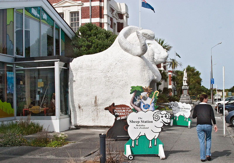 The way into the Sheep Station, a store, is through the Big Sheep.
