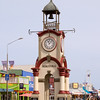 Clock tower and main street of Hokitika, a pleasant town.
