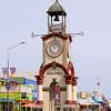 Clock tower and main street of Hokitika, a pleasant town.