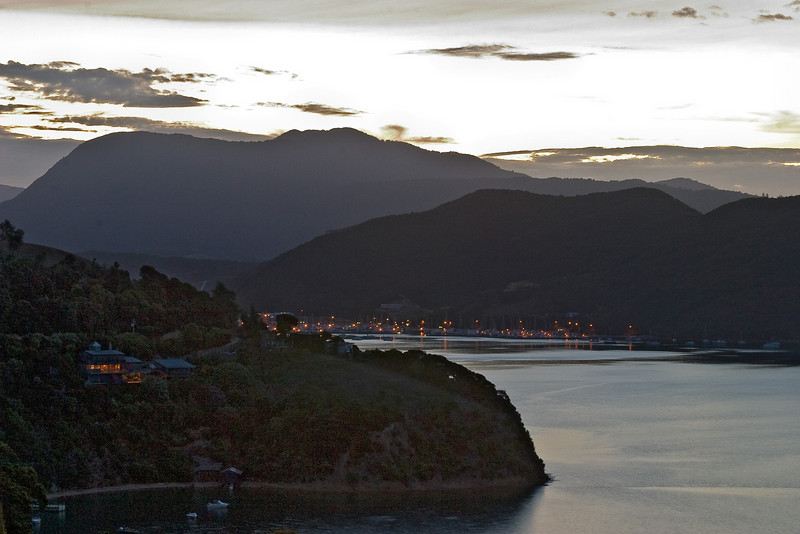 Outer regions of Picton harbor as seen from deck of Karaka Point Lodge, post-sunset.