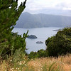 A ferry headed for Picton harbor, as seen from a hill several miles from Picton.