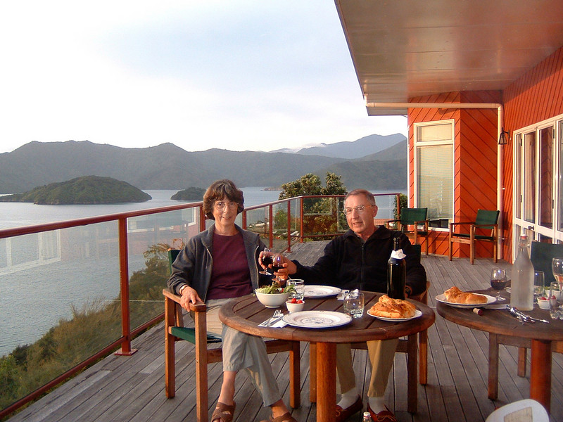 Dinner and local wine on deck of Karaka Point Lodge.