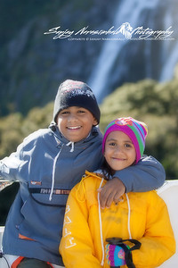 Kethan & Vasantha in Milford Sound, New Zealand 2005