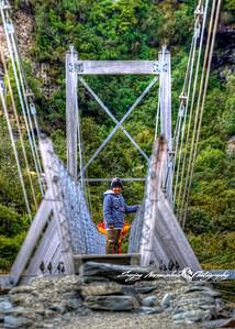 Swing bridge over Hooker River in Mt Cook National Park, New Zealand 2005