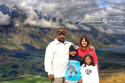 Narasimhalu family with the Remarkables range, Queenstown, New Zealand 2005