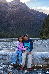Kethan & Vasantha on the Dart River, north of Paradise, New Zealand April 9, 2005