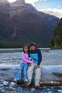 Kethan & Vasantha on the Dart River, north of Paradise, New Zealand April 9, 2005