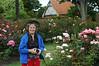 Anne Steele amid beautiful roses in Christchurch.