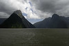 Milford Sound and Mitre Peak in cloud.