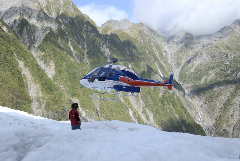 Flying onto the Franz Josef Glacier.