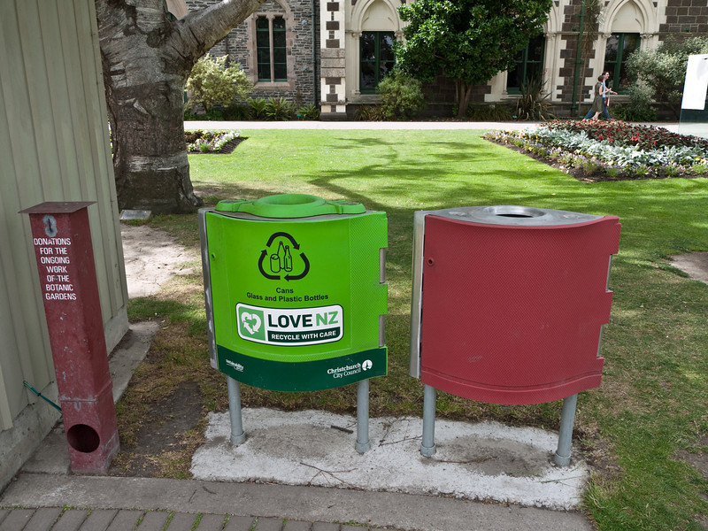 Lots of recycling bins around town in Christchurch