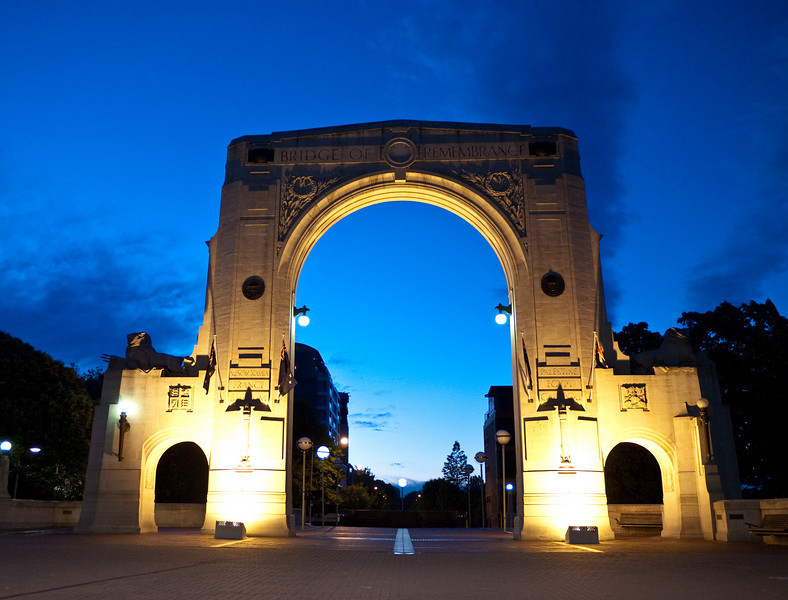 Bridge of Remembrance archway at dusk