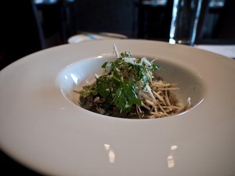 Wild and tame mushroom risotto with raw mushroom salad